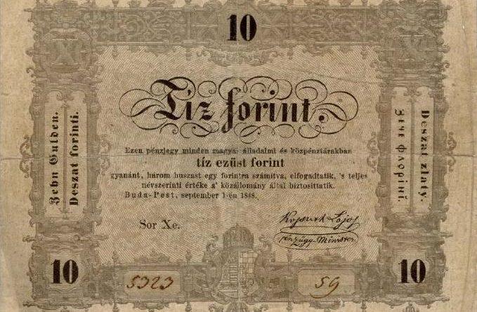 10 forintov z roku 1848.