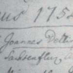 Záznam z matriky zomrelých, rok 1754