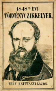 Zverejnenie marcových zákonov s podobizňou premiéra Lajosa Batthyányho.