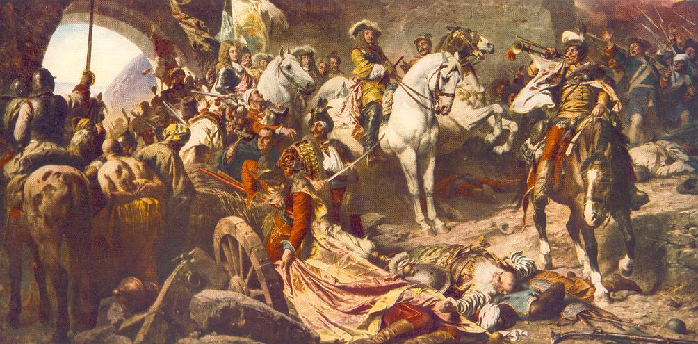 Oslobodenie Budína od Turkov. (1686). Budín po ťažkom šesťtýždňovom obliehaní dobylo habsburské vojsko