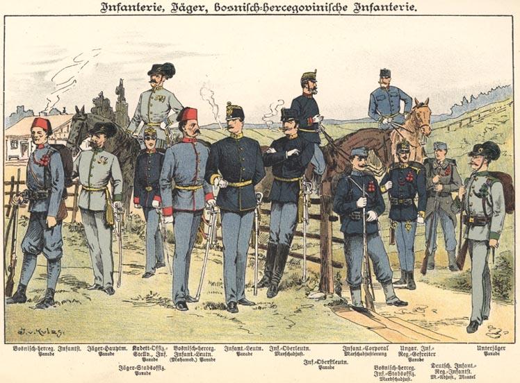 Pechota Rakúsko-uhorskej armády koncom 19. storočia.