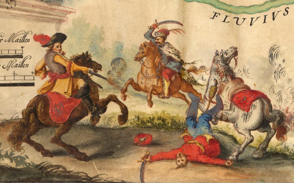 Kuruckí vojaci (povstalecký vojak) v boji s labancami (vojská habsburskej monarchie).